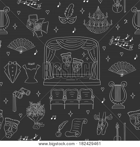 Vector seamless background with theater symbols, theatrical stage, comedy and tragedy masks, curtains, seats, lyre, chandelier, spotlight, violin tuxedo hand drawn doodle