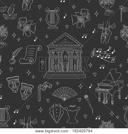 Vector seamless background with theater symbols comedy and tragedy masks, theater building, theatrical binoculars, grand piano, lyre, ballet shoes, hand fan, spotlight, hand drawn, doodle style.
