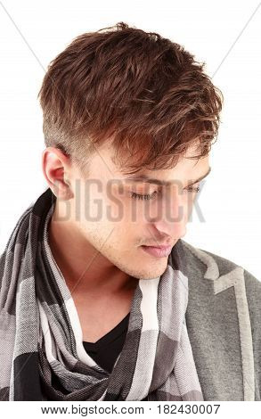 Portrait of a confident businessman. Men's beauty, fashion. Isolated over white.