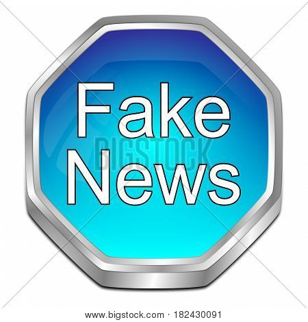 glossy blue Fake News button - 3D illustration