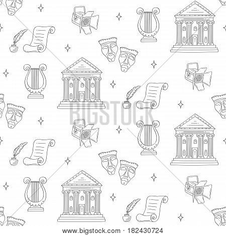 Theater vector seamless background with theater building, tragedy and comedy masks, spotlight and lyre, hand drawn, sketch style.