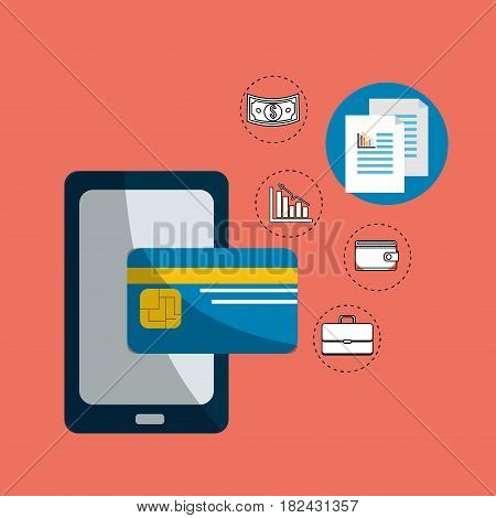 smarphone digital security credit card, vector illustration