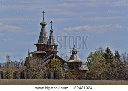 Skeet All Saints. Wooden church in the area Svyatogorsk. Ukraine Donetsk region