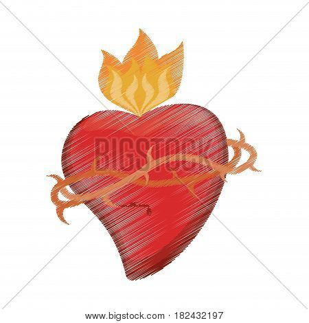 drawing sac heart catholic vector illustration eps 10