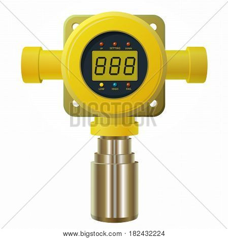 Vector gas detector. Yellow gas meter with digital LCD display. Low poly gas consumption when sensor heater with adjustable values. Safety sensor against poisoning with gas programmable alarm relays.
