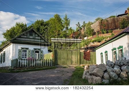 Old house in russian siberian style in the Petropavl Kazakhstan. The city is situated in northern Kazakhstan close to the border with Russia.
