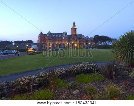 Slieve Donard hotel in Newcastle County Down at dusk