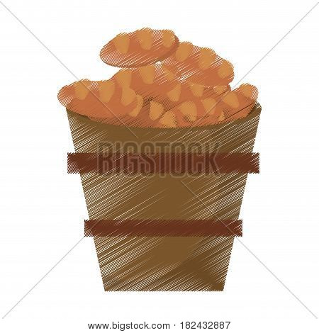 drawing wooden pot bread full miracle vector illustration eps 10