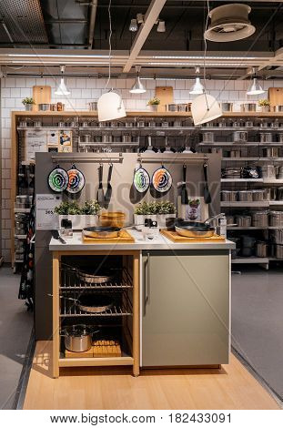 PARIS FRANCE - APR 10 2017: Kitchen accesories - pans and food kitchen accesories at IKEA Shopping furniture store in Paris France. Being founded in Sweden in 1943 IKEA is the world's largest furniture retailer.