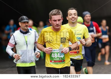 Rome Italy - April 2nd 2017: Athletes of the 23rd Rome Marathon to the passage of the tunnel Umberto I a few kilometers from the finish.