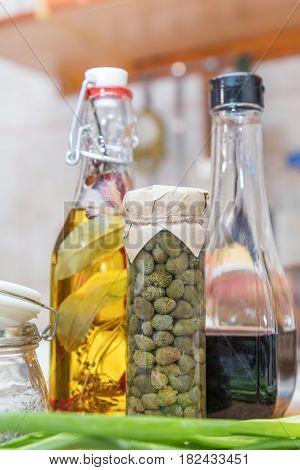 Caper In Glass Jar, Balsamic Vinegar