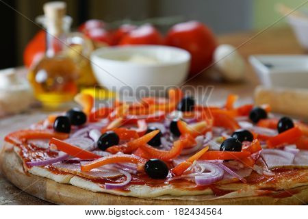 tasty fresh baked pizza with diferent ingredients
