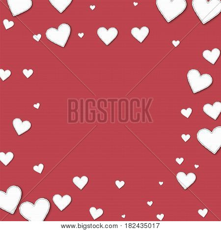 Cutout Paper Hearts. Square Scattered Frame On Crimson Background. Vector Illustration.