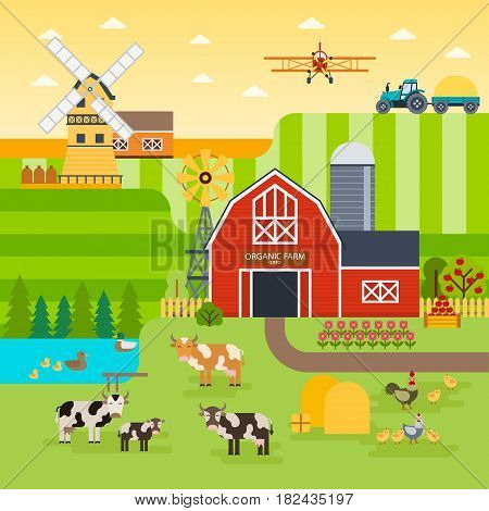 Farm flat vector landscape. Organic food concept for any design. Farm landscape  illustration, banner, background. Farm with cows, chickens, garden and fields. Farm infographic elements, flat design