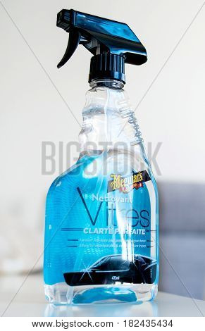 PARIS FRANCE - APR 9 2017: A bottle of Meguiar's brand liquid car solution for window cleaning - Perfect Clarity Glass Cleaner