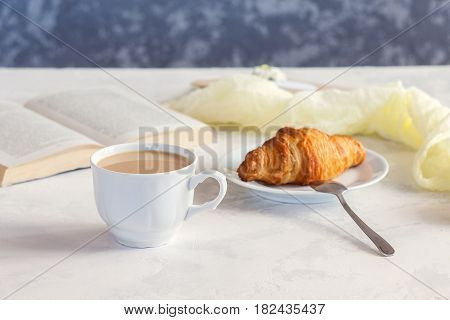 Morning Coffee Mug With Croissant, Cozy And Tasty Breakfast. Selective Focuse