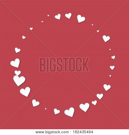 Beautiful Paper Hearts. Round Shape On Crimson Background. Vector Illustration.