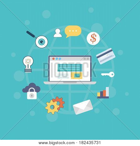 Vector illustration of icons set of computer technology and internet capabilities. Modern vector pictogram collection concept