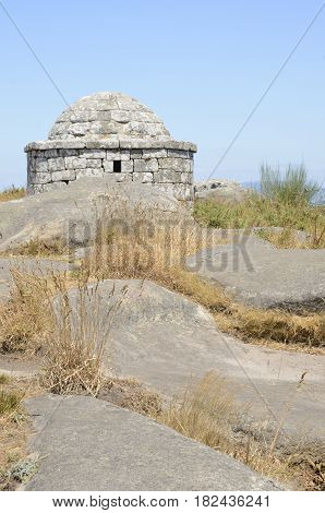 Reconstructed of prehistorical house at the Mountain of Facho in Cangas in the province of Pontevedra Galicia Spain.