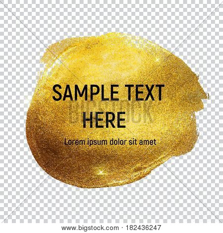 Gold Paint Glittering Textured Art on Transperent Background Vector Ilustration EPS10