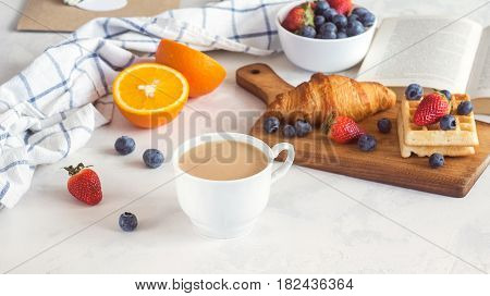 Breakfast With Croissant, Berries And Book On White Background