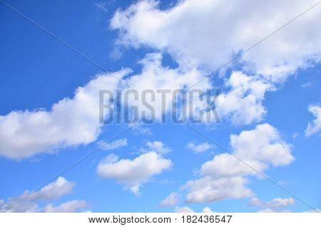 A Photo Of A Bright And Shiny Blue Sky With Fluffy And Dense White Clouds