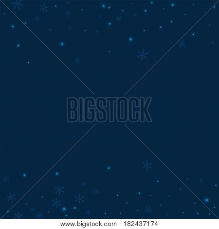 Sparse Glowing Snow. Scattered Border On Deep Blue Background. Vector Illustration.