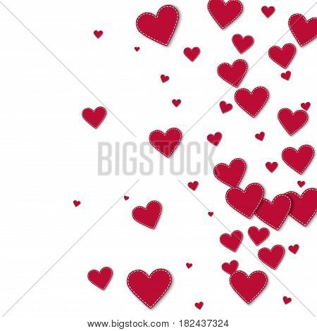 Red Stitched Paper Hearts. Right Gradient With Red Stitched Paper Hearts On White Background. Vector