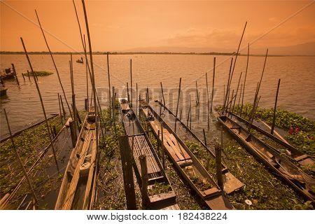 Thailand Phayao Lake Woodboat