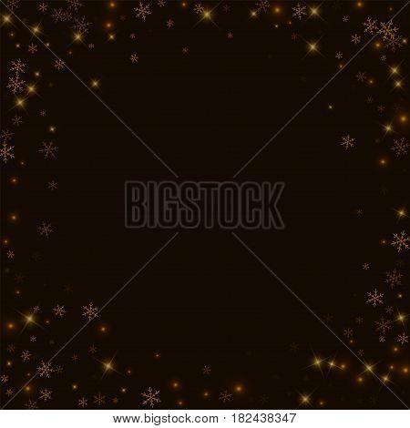 Sparse Starry Snow. Bordered Frame On Black Background. Vector Illustration.