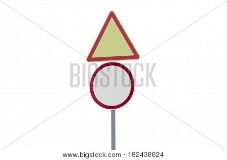 Road signs blank on white background isolation