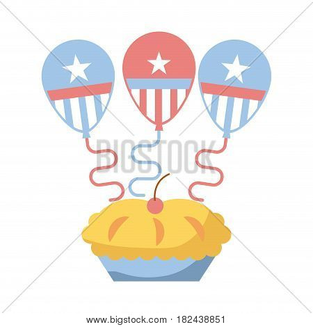 pie with balloons over white background. colorful design. indepence day concept. vector illustration