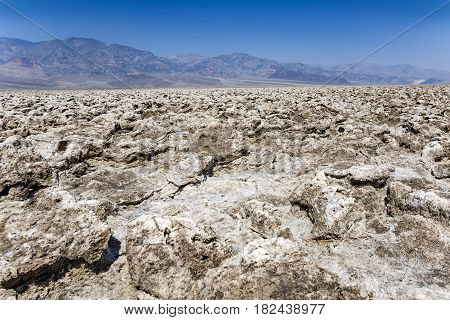 Area Of Salt Plates In The Middle Of Death Valley, Called Devil's Golfe Course