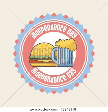 seal stamp with hamburger and beer jar icon over white background. usa indepence day concept. colorful design. vector illustration