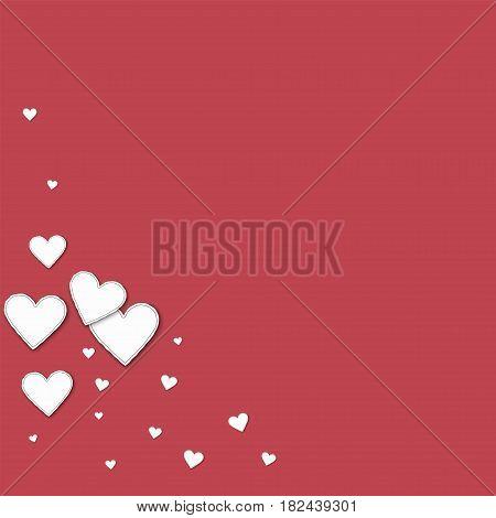 Cutout Paper Hearts. Bottom Left Corner On Crimson Background. Vector Illustration.