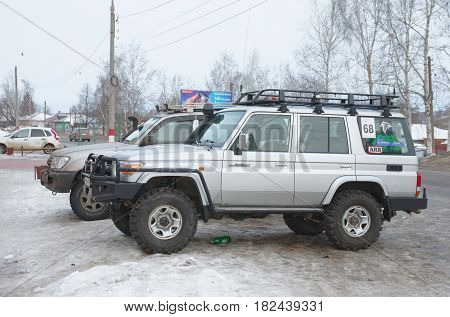 LUKOYANOV, RUSSIA - FEBRUARY 23, 2015: Toyota Land Cruiser 70 parked on city street.