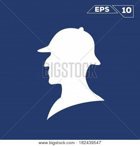 sherlock holmes white silhouette illustration vector design