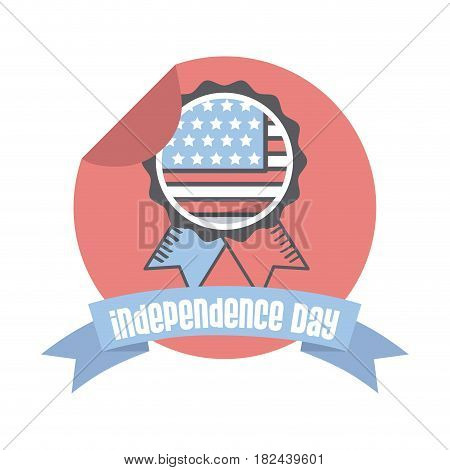 seal stamp with usa flag  over white background. usa indepence day concept. colorful design. vector illustration
