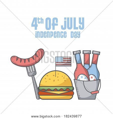 hamburger sausage and bucket with beer bottles icon over white background. usa independence day concept. colorful design. vector illustration