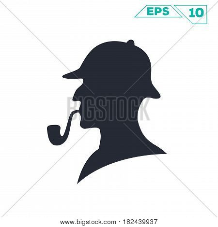 sherlock holmes pipe silhouette illustration vector design