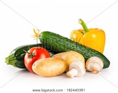 Still life of fresh raw healthy vegetables isolated on white background