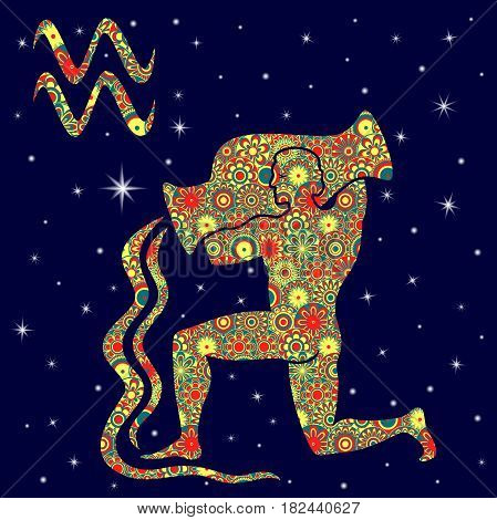 Zodiac Sign Aquarius With Variegated Flowers Fill Over Starry Sky