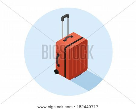 Vector isometric illustration of red suitcase, baggage icon