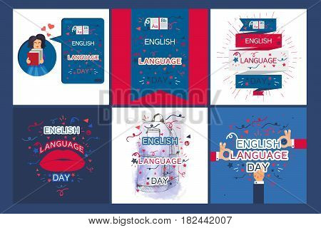 English Language Day Banner With Book and Letters A B Z. Vector