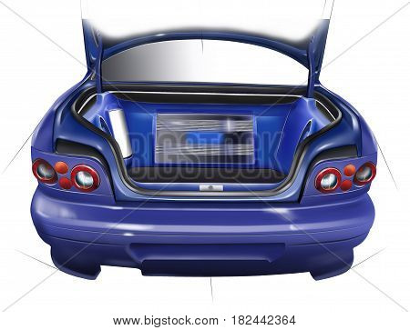 Outdoor trunk sports car. Layout of the acoustic setup. Concept design. Illustration.