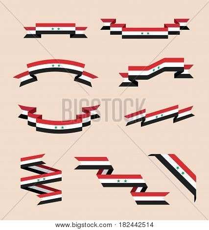Vector set of scrolled isolated ribbons or banners in colors and with symbols of Syrian flag.