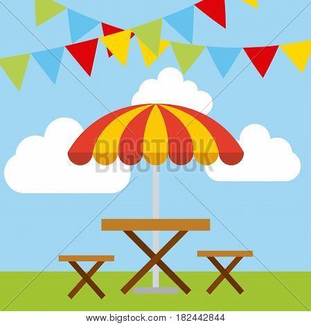 decorative pennants and wooden picnic table over sky background. colorful design. vector illustration