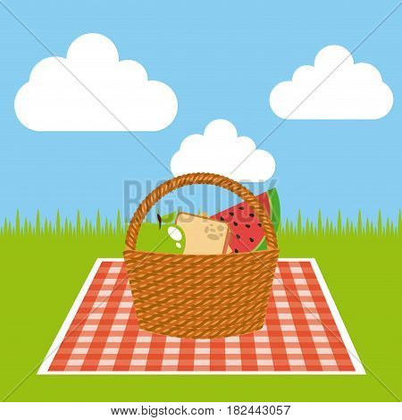 picnic tablecloth and basket with food  icon over landscape background. colorful design. vector illustration