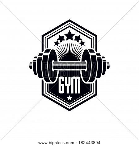 Logotype for heavyweight gym or fitness sport gymnasium vintage style vector emblem. With barbell.