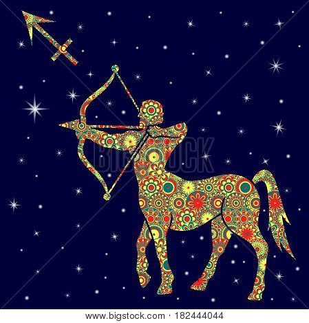Zodiac Sign Sagittarius With Variegated Flowers Fill Over Starry Sky